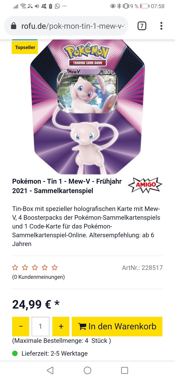 Pokémon Mew Tin Box und Zamazenta ist auch erhältlich.