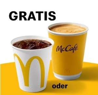 Café small oder Softdrink 0,25 l nach Wahl gratis bei McDonalds [App Coupon für angemeldete Benutzer]