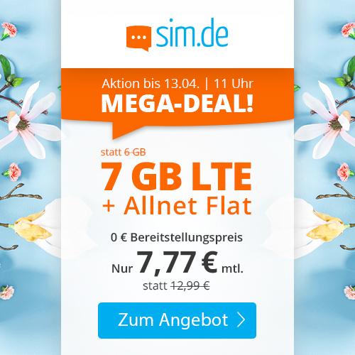 7GB LTE sim.de Tarif für mtl. 7,77€ mit Allnet- & SMS-Flat + VoLTE & WLAN Call (3 Monate / 24 Monate; Telefonica-Netz)