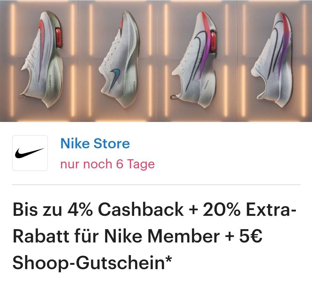 Shoop: Nike Store bis zu 4% Cashback + 20% Rabatt für Nike Member + 5€ Shoop Gutschein ab 125€ MBW