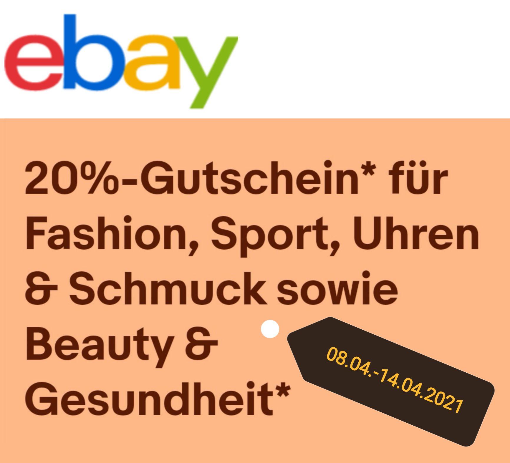Ebay 20% Gutschein für Fashion, Sport, Uhren, Schmuck & Beauty/Gesundheit - - 2x einlösbar/max. 50€ Rabatt/ ohne MBW/ teilnehmende Händler