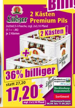 Norma - zwei Kisten Lübzer 17,20 € zzgl Pfand - Norddeutschland
