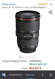 Canon EF 16-35mm 1:4 L IS USM bei Amazon.fr