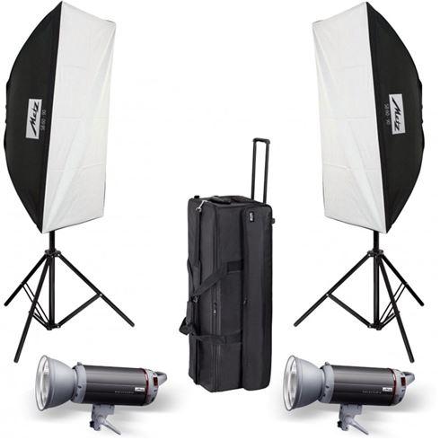 Metz Mecastudio TL-300 SB-Kit II, 2x Blitz, 2x Lampstativ, 2x Softbox