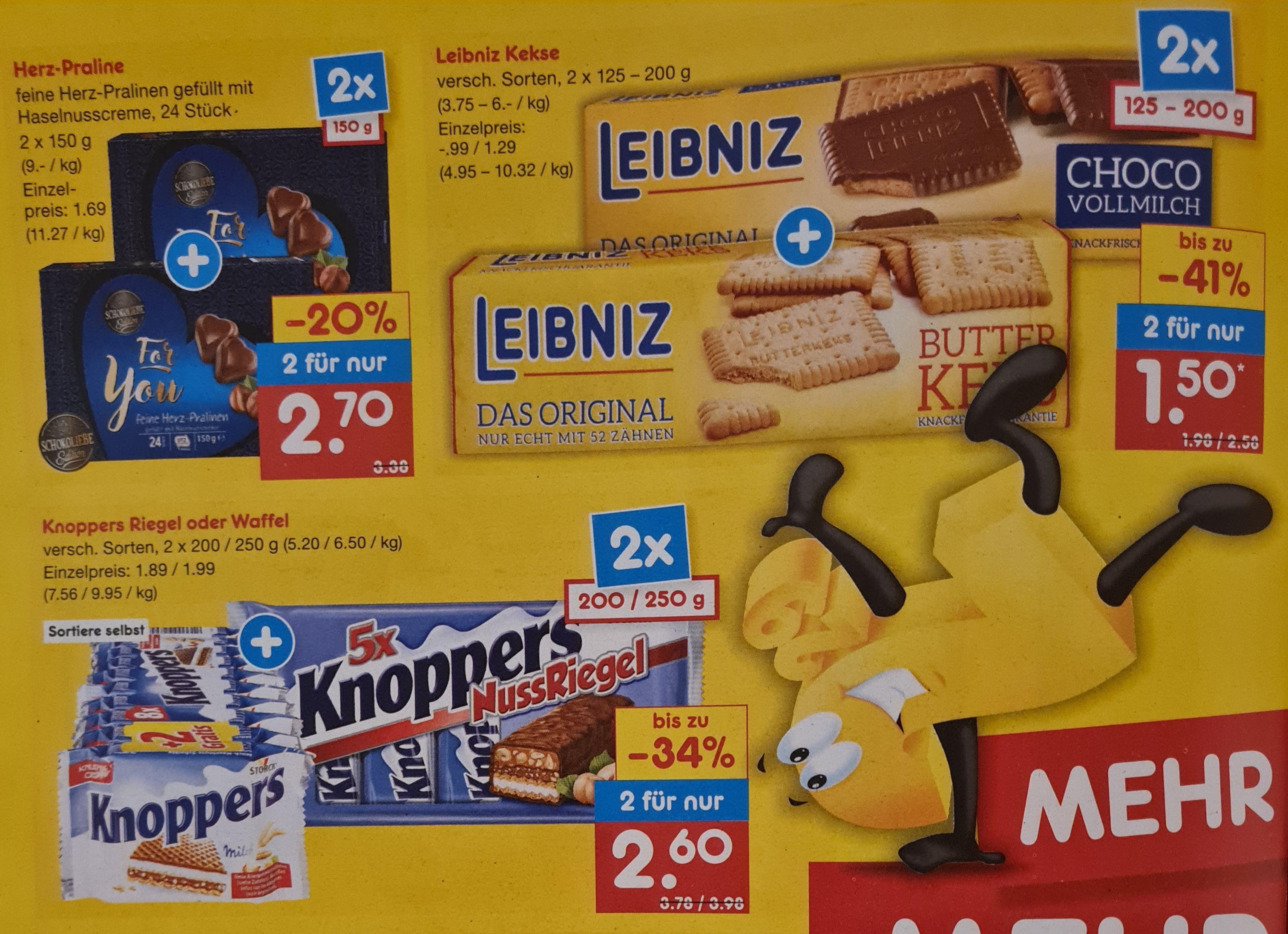 Knoppers 2x für 2,60€ statt 3,98€ UND Leibniz Kekse 2x für 1,50€ statt 2,58€ Netto ab 12.04 plus weitere Angebote