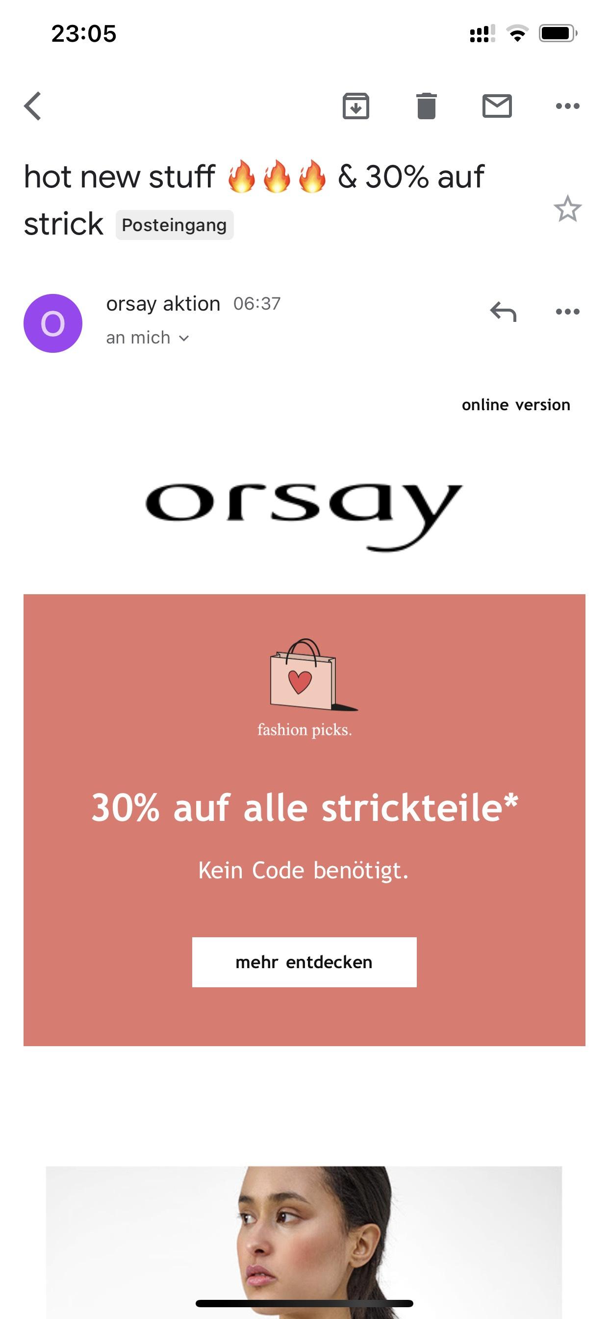 """Orsay - 30% auf alle Strickteile"""""""