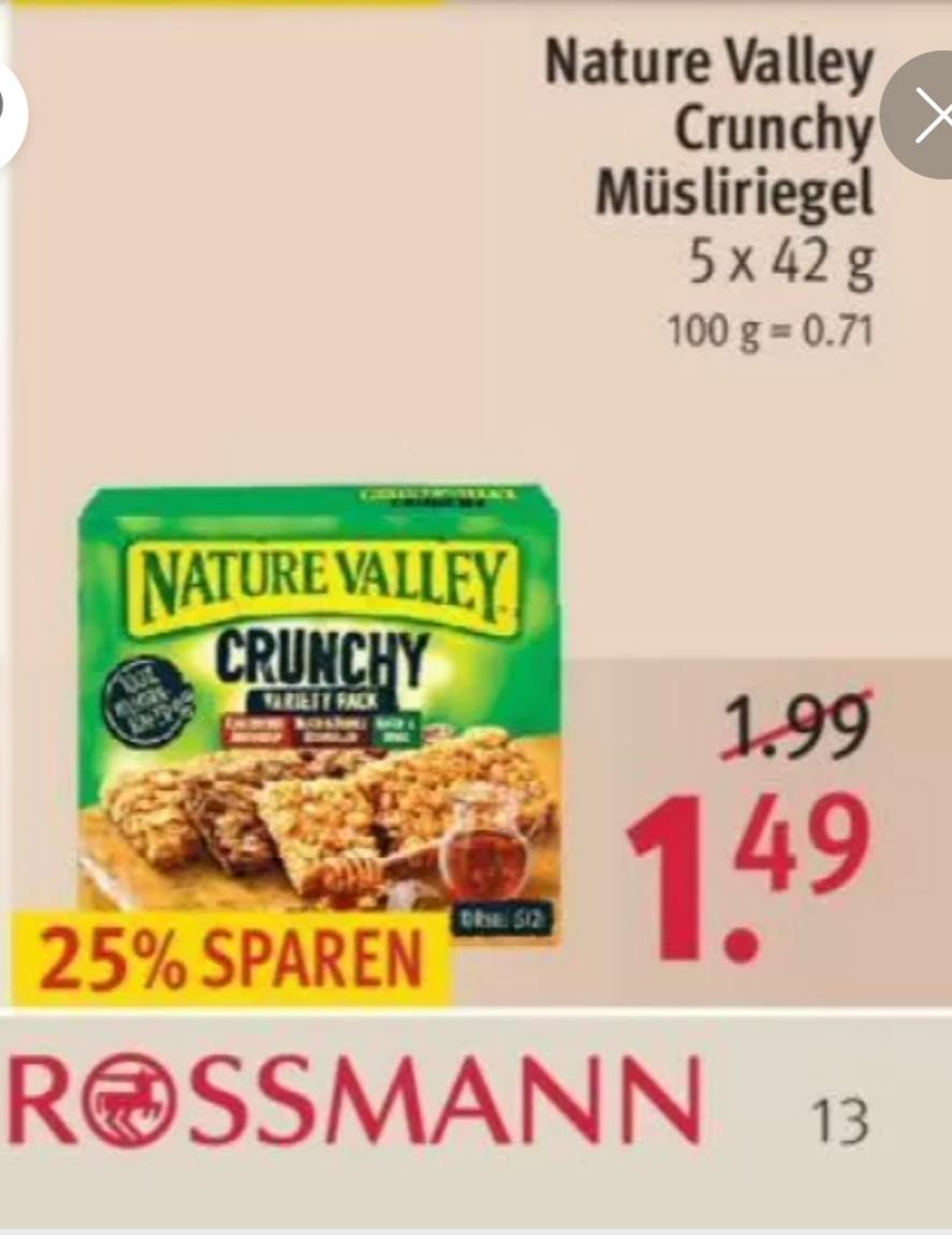 [Rossmann] Nature Valley Müsliriegel für 0,89 Euro