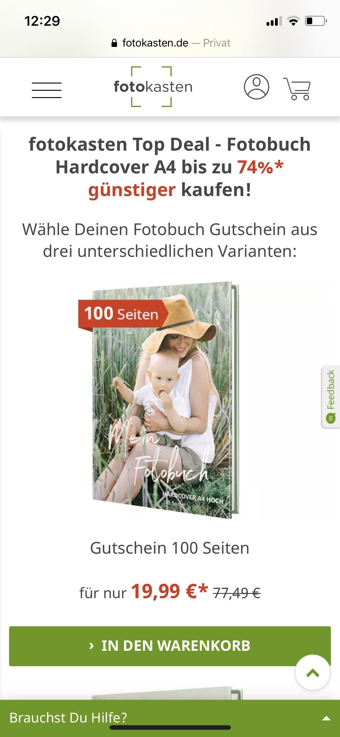 Fotokasten DIN A 4 100 Seiten Hardcover, Fotobuch Gutschein 19,99 Euro, 3 Jahre gültig, ehemals Tchibo