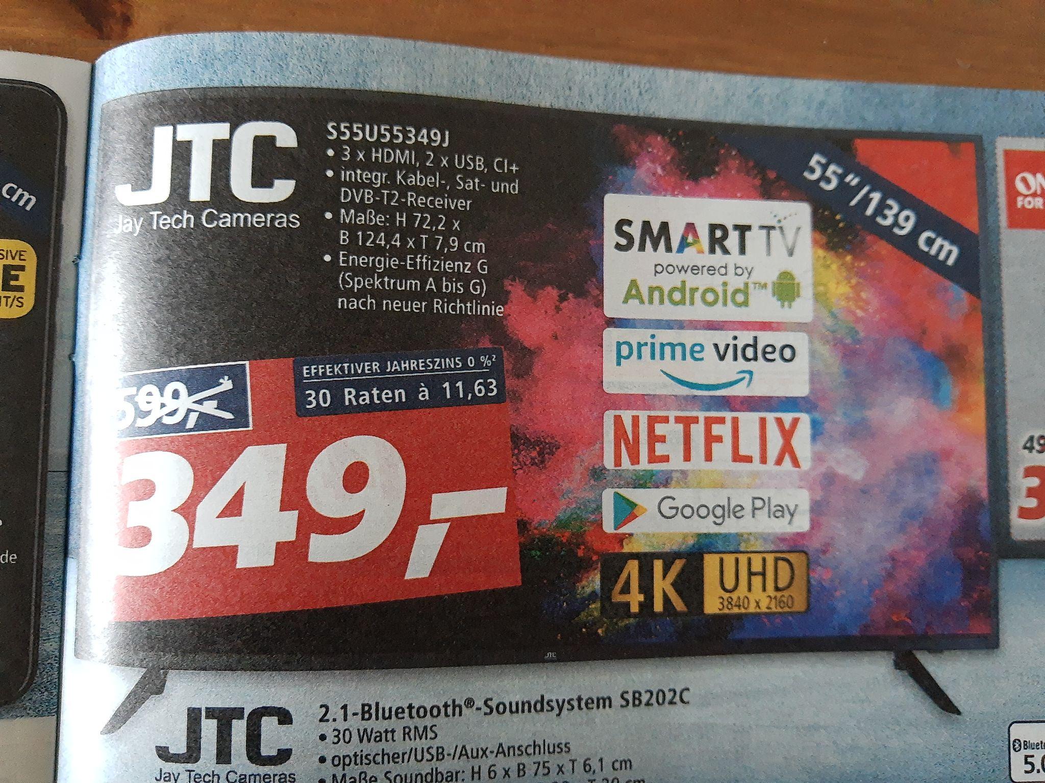 "[LOKAL real] JTC S55U55349J 55"" 4K Android Smart TV"