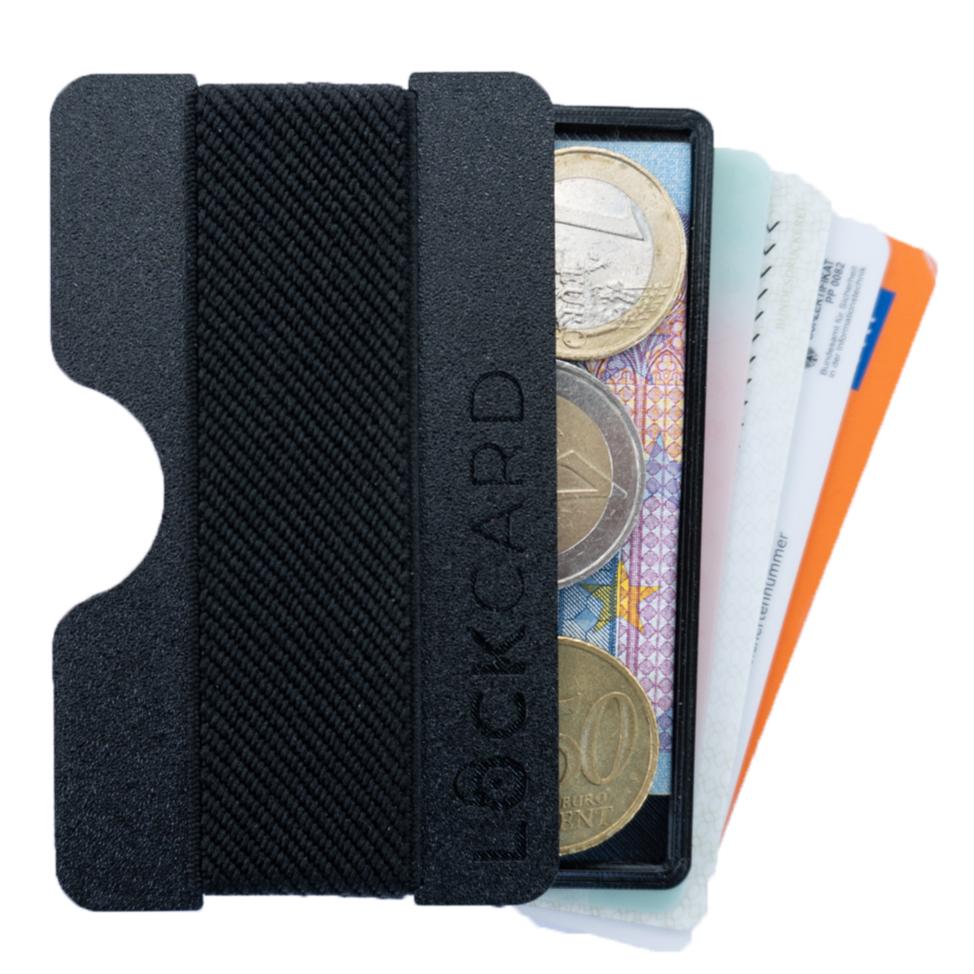 Lockcard Wallet, Geldbeutel bis zu 15 Karten und Bargeldfach.