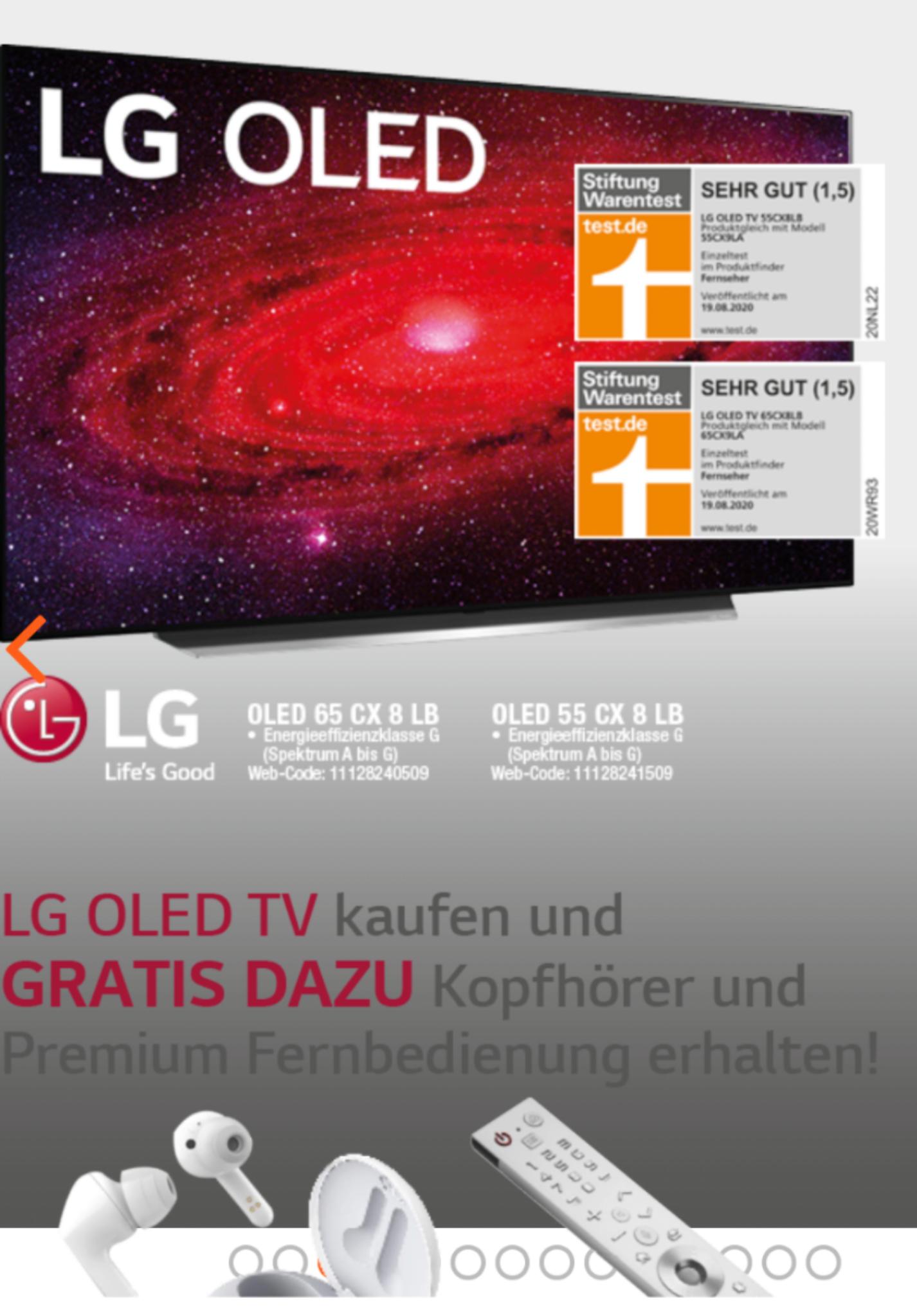 LG OLED55CX8LB baugleich OLED55CX9LA inkl. 3 Produkte im Wert von 150€