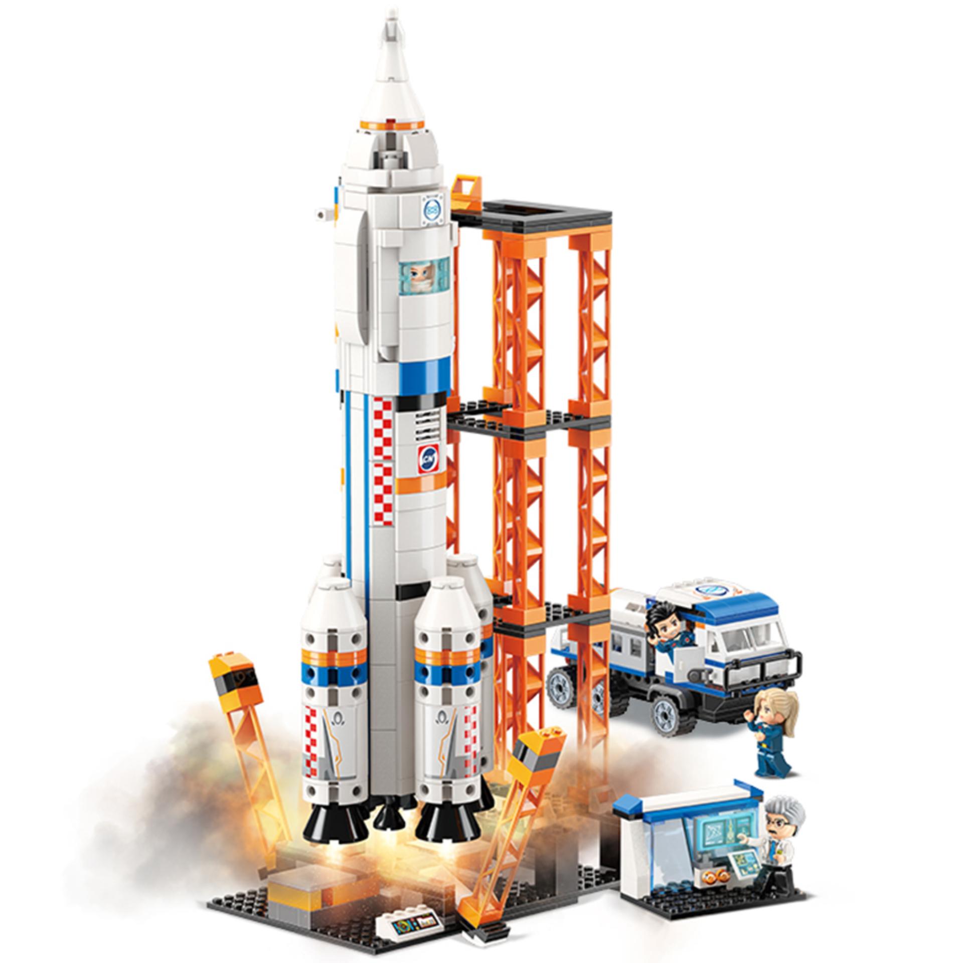 Qman 1140: Klemmbaustein Space Port mit Mondfahrzeug (632 Teile, 4 Qman Figuren, Physische Anleitung, EN71 Norm Geprüft)
