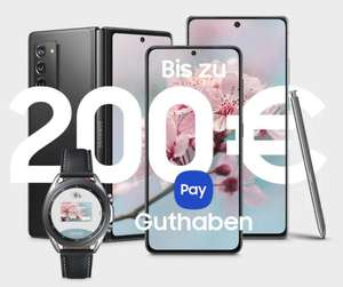 Samsung Pay: 100€ zum S21 (Plus) & alle Note 20 & Watch 3 | 200€ zum S21 Ultra & Z Fold 2 & Z Flip (5G) oder Keyboard Tab S7 Reihe