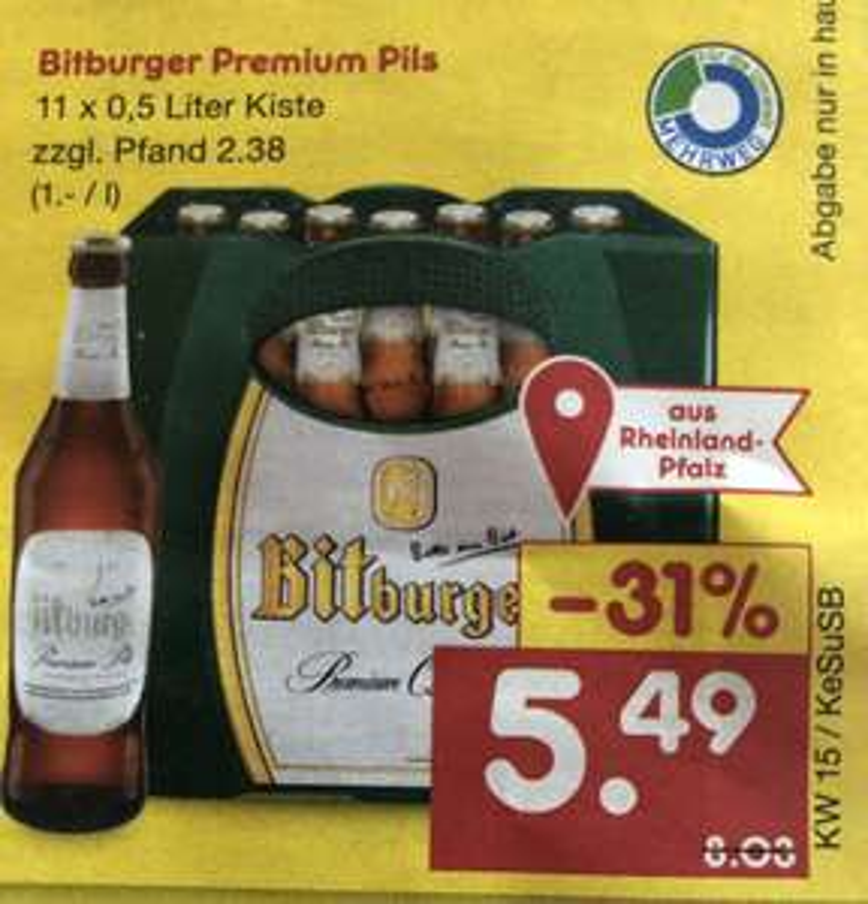 Bitburger Premium Pils 0,5 Liter ( 11er Kasten )
