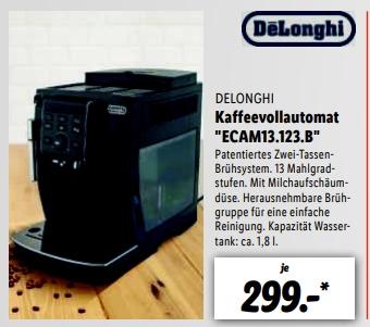 [Regional LIDL Wolfsburg /Euskirchen/ Darmstadt+ weitere ab 19.04] DeLonghi DeLonghi ECAM 350.15 B Kaffeevollautomat (schwarz) für 299,-€