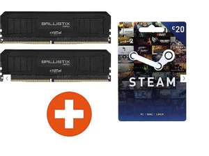 16GB (2x8GB) Crucial Ballistix MAX DDR4-4000 (CL) 18 Black Speicher Kit + 20€ Steam (PC)