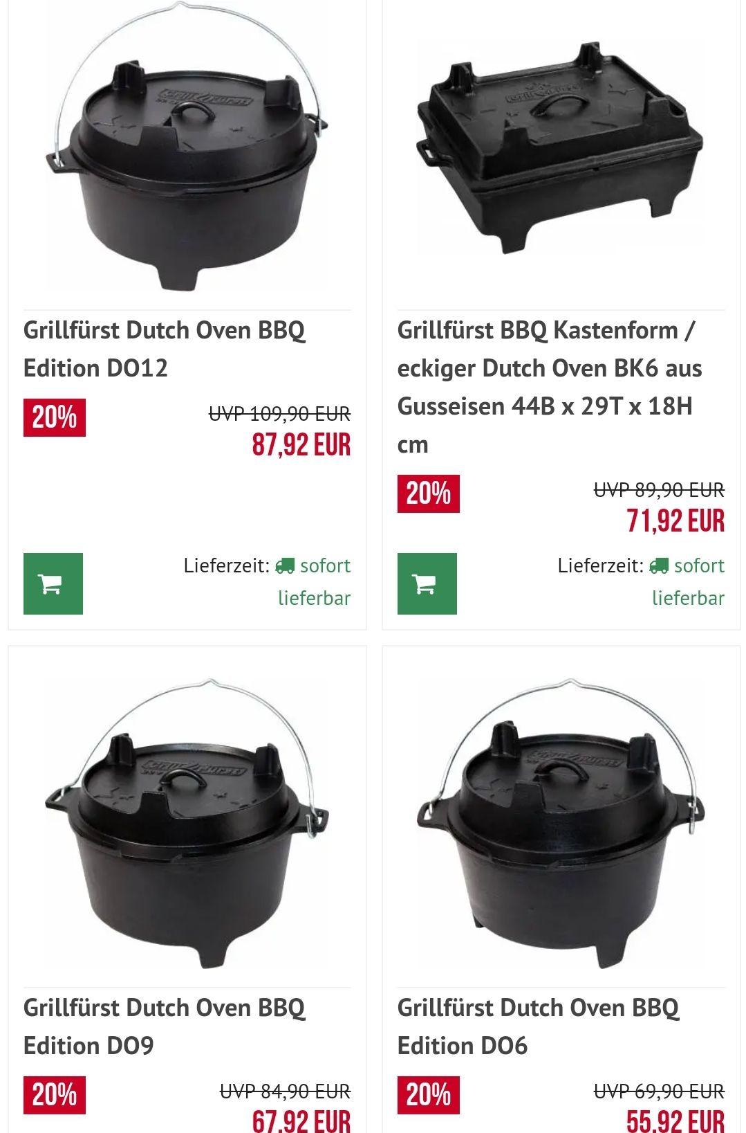 20 % auf alle Grillfürst Dutch Oven z. B. D06