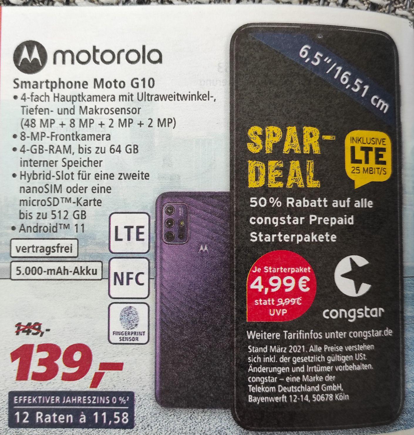 Motorola Moto G10 und Congstar Prepaid Starterpaket bei Real