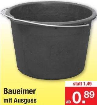 """Baueimer mit Ausguss 12 L (0,89€) oder 20 L (1,69€) zertifiziert (""""Der Blaue Engel"""")"""