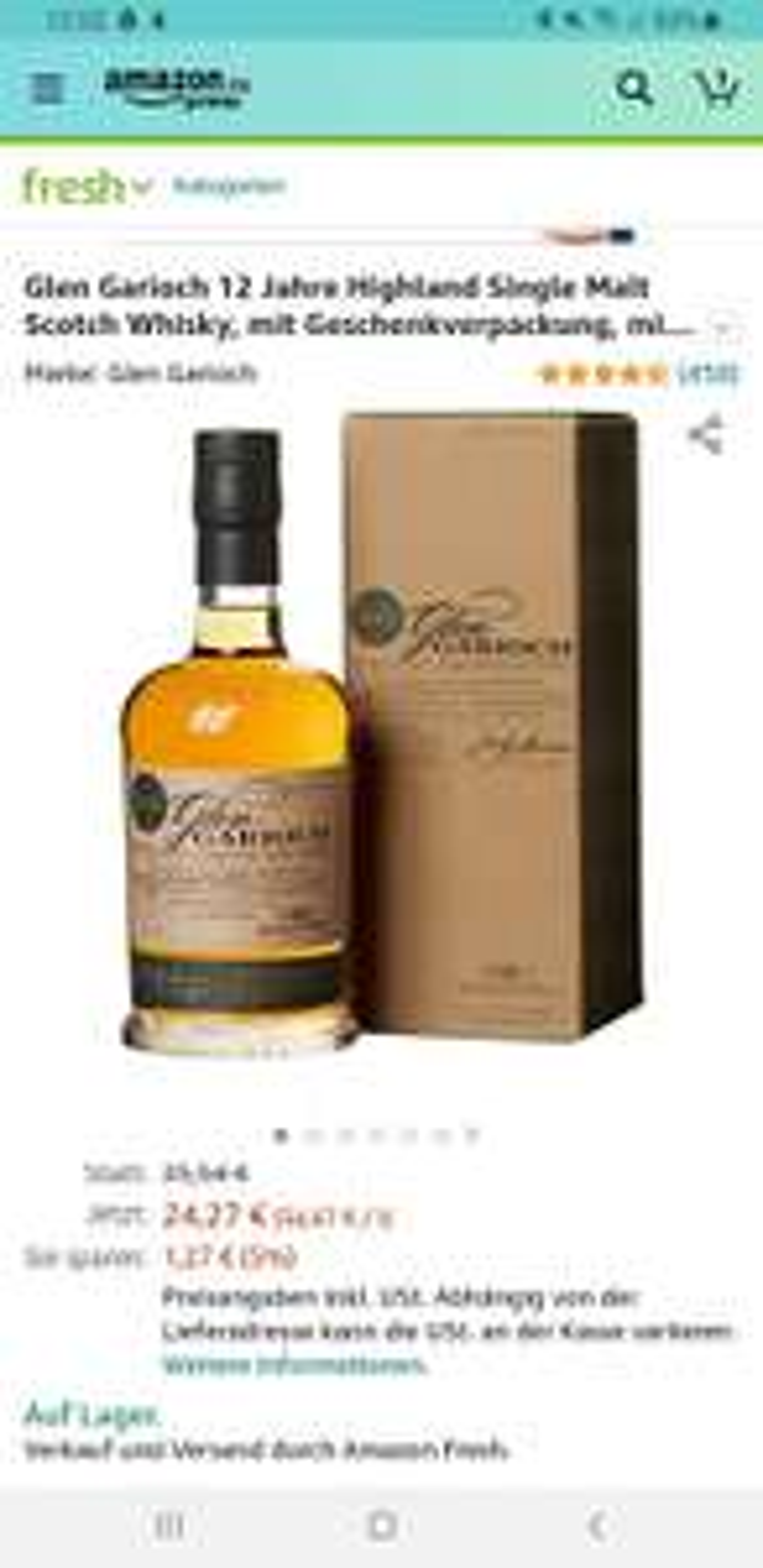 (Amazon Fresh) Glen Garioch 12 Jahre Highland Single Malt Scotch Whisky, mit Geschenkverpackung, mit Finish in Bourbon- und Sherryfässern