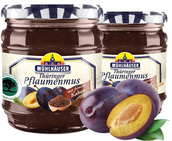 Penny Markt: Mühlhäuser Pflaumenmus mit Kakao verfeinert im 450 Gramm Glas, auch Konfitüre z.b. Erdbeere , Kilopreis: 2,47 €