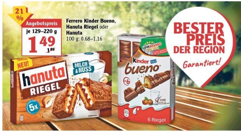 Ferrero Kinder Bueno Hanuta Riegel oder Hanuta 129-220 g ab 12.04 Globus