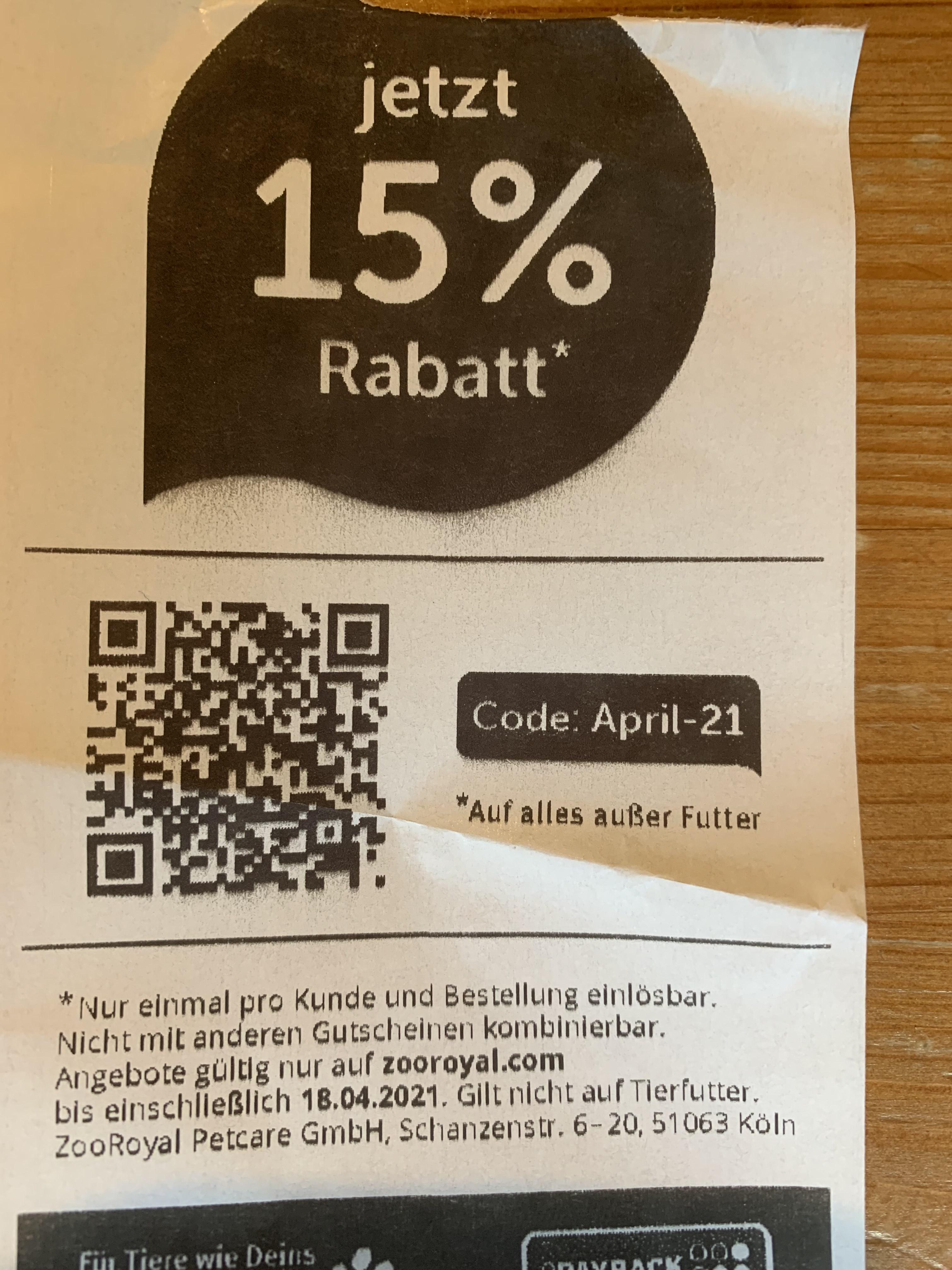 [Zooroyal] Gutschein für 15% bis 18.4.2021 (gilt nicht für Futter)