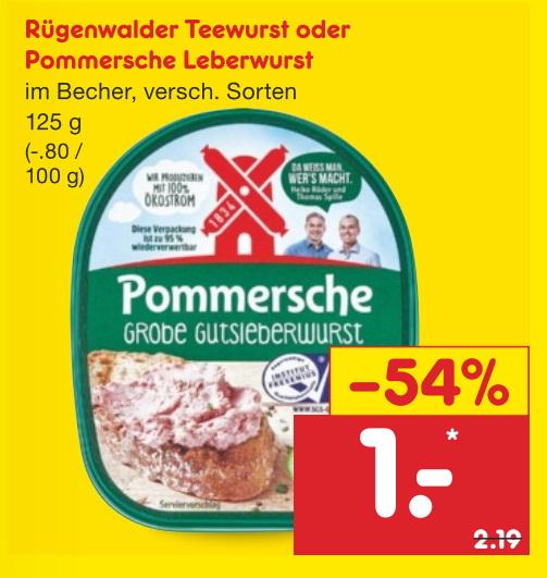 Netto MD Pommersche Leberwurst, Rügenwalder Teewurst