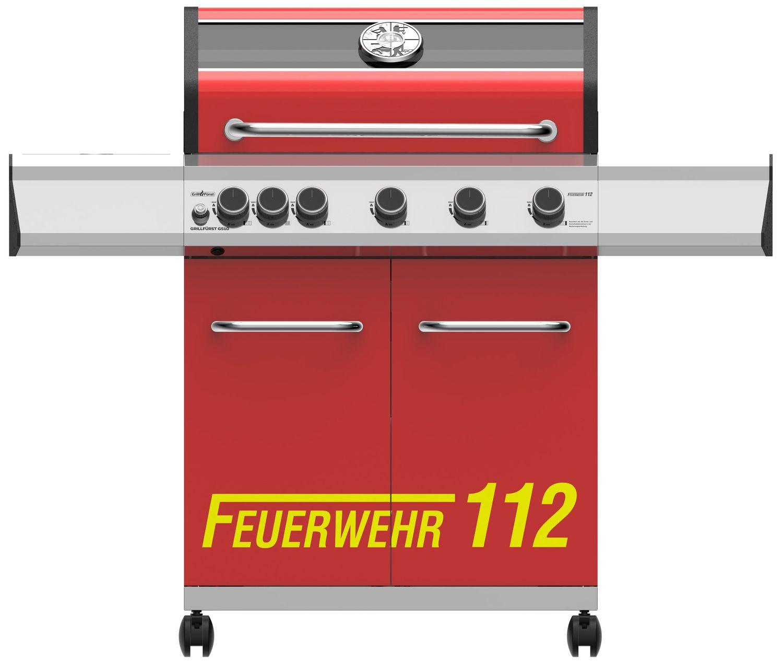 Grillfürst G510G - Feuerwehr Edition - 5-Brenner Gasgrill mit Hochtemperaturbrenner und Gusseisen Rosten