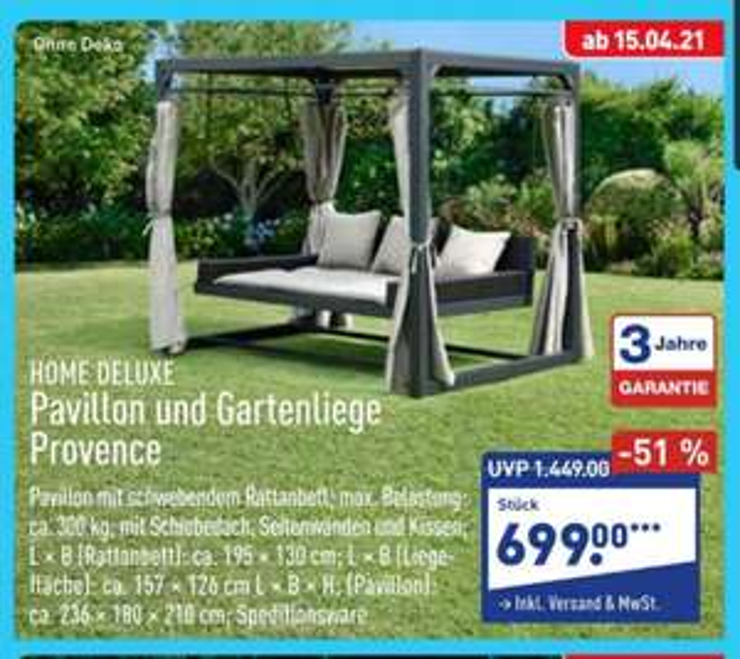 Pavillon-Gartenliege Provence Ab 15.04 bei Aldi online