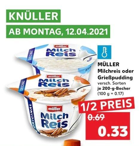 (Kaufland) MÜLLER Milchreis / Grießpudding 200g Becher
