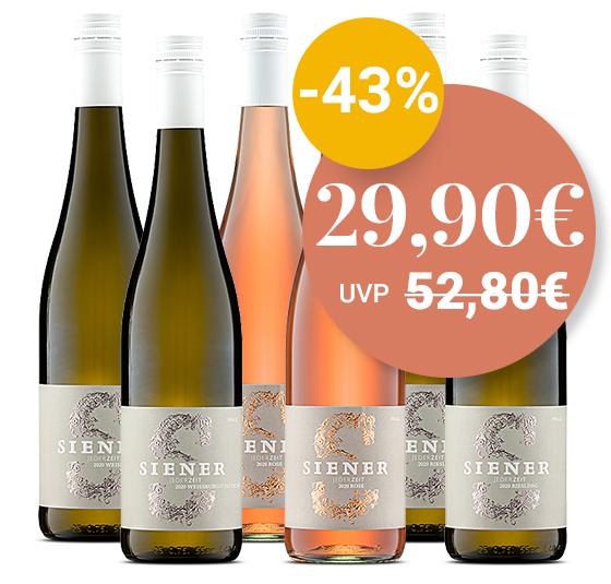 12 Flaschen Gutswein (Riesling/Rosé/Weißburgunder) vom Weingut Siener [Pfalz]