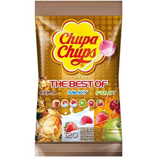[Amazon Prime+Sparabo] Chupa Chups Best of Lutscher-Beutel, 120 Lollis im Nachfüllbeutel, 6 farbenfrohe Geschmacksrichtungen
