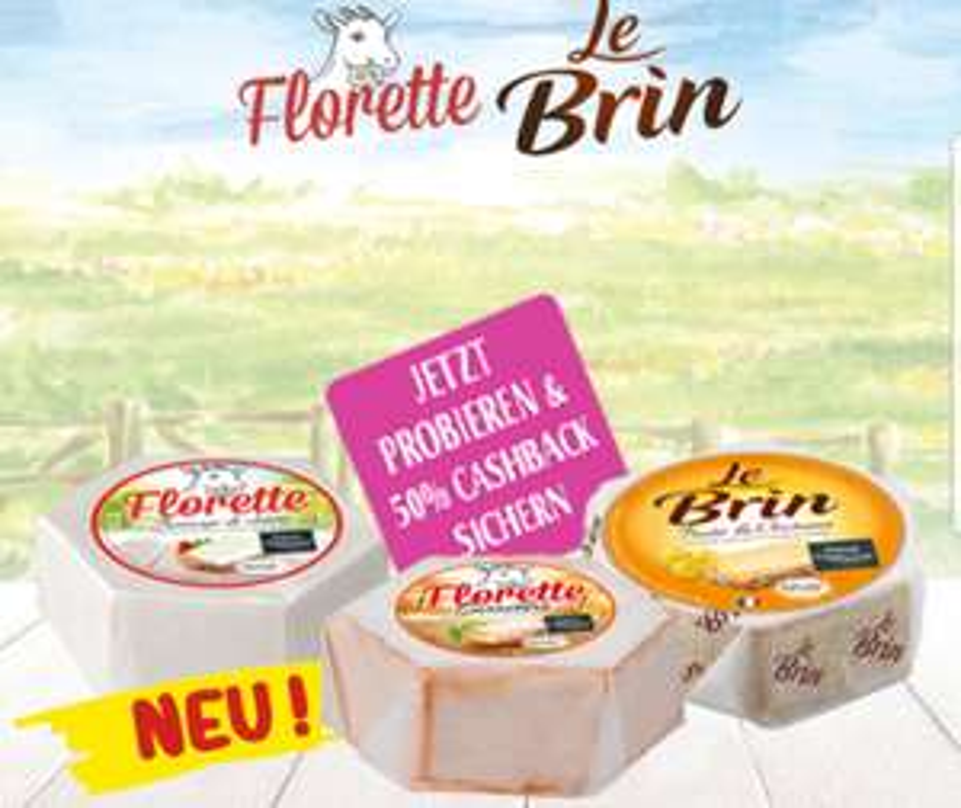 [50% GzG] 50% Cashback auf Florette und Le Brin Käse Produkte (pro Person 3 ×)