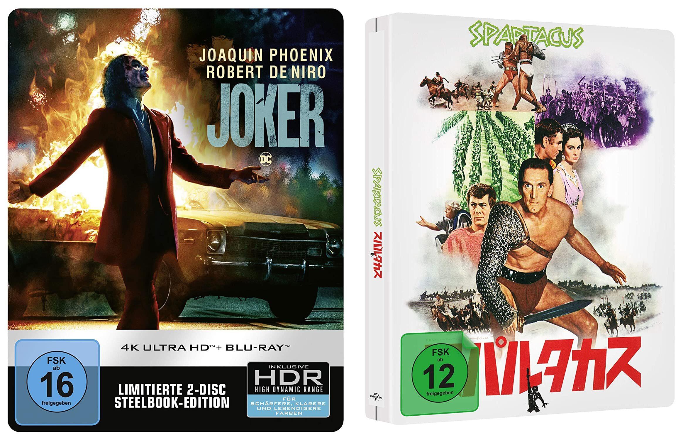 2 4K Ultra HD Blu-ray für 35€ z.B. Joker 4K UHD + 2D Steelbook und Spartacus - LIMITED JAPANESE STEELBOOK (4k UHD) [Blu-ray]