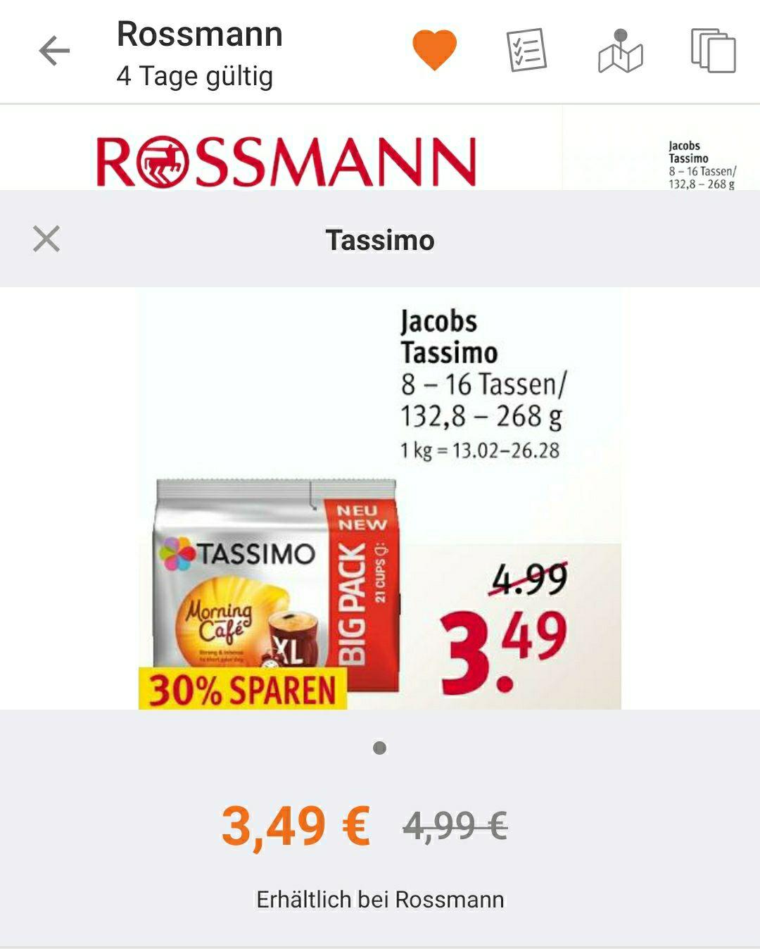 Tassimo morning XL Kapseln für 3,49€ offline abzgl. 10% Apprabatt