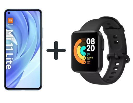 "Xiaomi Mi 11 Lite 128 GB Bundle + Mi Watch Lite (6,55"" FHD+ AMOLED 90 Hz, 157g, SD732G, NFC, Dual-SIM, 4.250 mAh, 33W)"