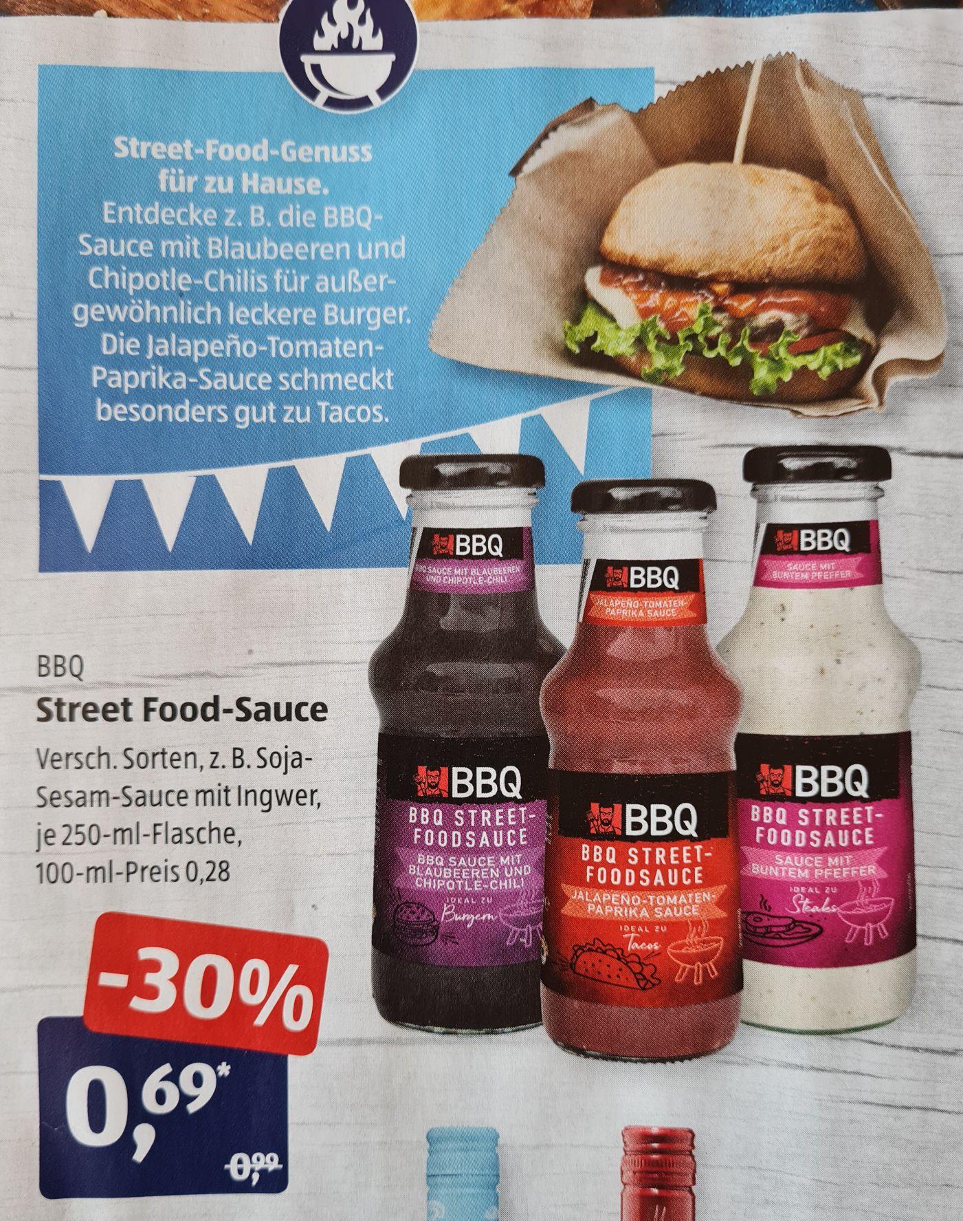 BBQ Street Food-Sauce und BBQ Salatdressing für 0,79€ statt 0,99€ verschiedene Sorten je 250 ml ab 19.04 Aldi Süd