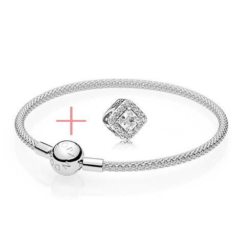 Pandora Armband Set mit geometrischem Anhänger aus 925er Silber