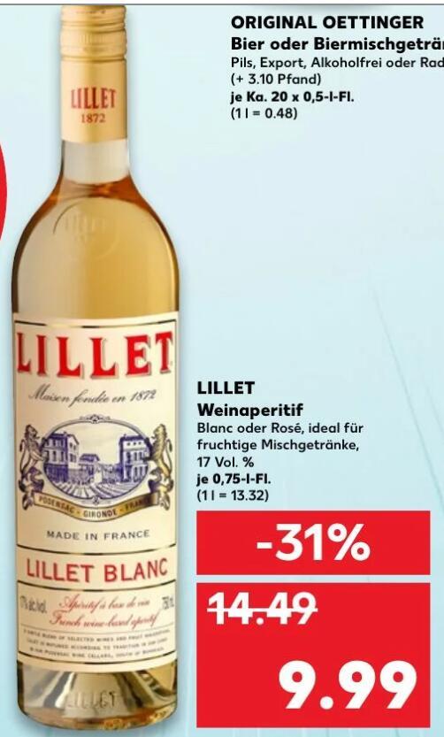[Kaufland Paderborn(?)] Lillet Weinaperitif Blanc oder Rose 0,75l 9,99€
