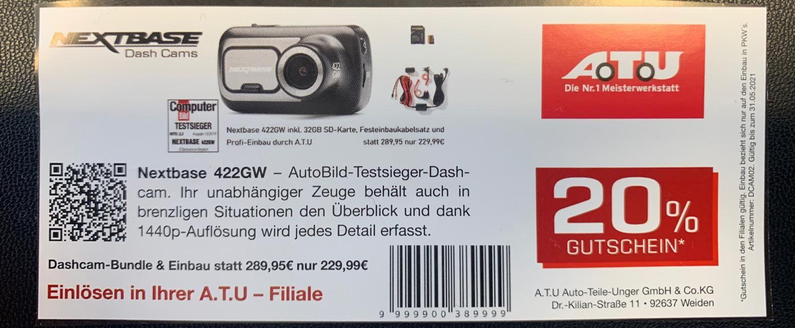 Nextbase 422GW Dashcam Bundle + Einbau bei A.T.U. (offline)