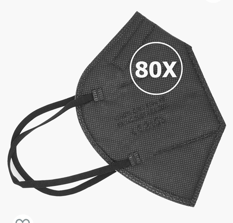 [Amazon] 80x schwarze FFP2 Masken - zertifiziert nach EN149:2001 + A1:2009