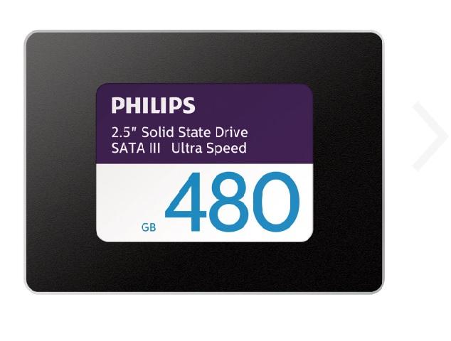 Philips Ultra Speed SSD 480GB 2.5 Zoll, Schnittstelle SATA 6Gb/s, Lesen 550MB/s, Schreiben 480MB/s