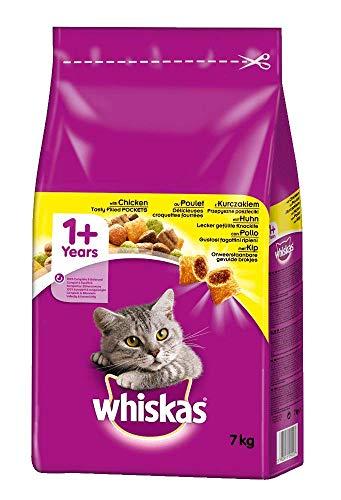 Amazon Prime: 7kg Whiskas Adult 1+ Trockenfutter für Katzen , Sorte Huhn mit Knackits Taschen. Auch andere Sorten und Inhalte günstiger !!