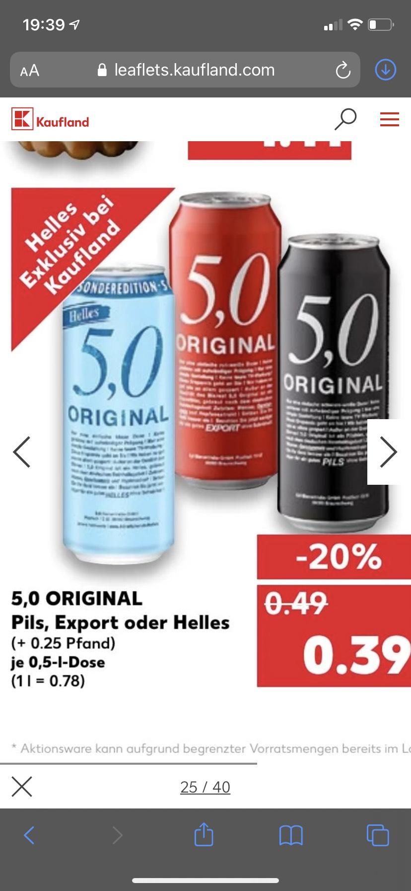 5,0 Bier verschiedene Dosen 0,5 l (Kaufland)