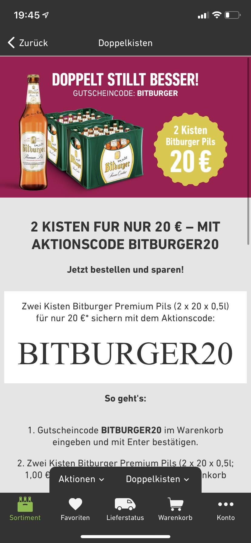[Aachen] 2 Kästen (20x0,5) Bitburger für 20€