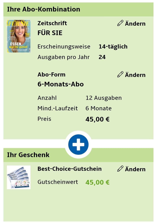 Für Sie Zeitschrift 6 Monats Abo mit 45€ Bestchoice Gutschein