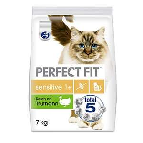 Amazon Prime Sparabo: 7 Kilo Perfect Fit Katzenfutter sensitive 1 + , trocken, 14 % Truthahn