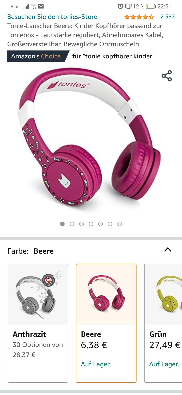 [UK-Import] Tonie-Lauscher Beere: Kinder Kopfhörer passend zur Toniebox - Lautstärke reguliert, Abnehmbares Kabel, Größenverstellbar - Prime