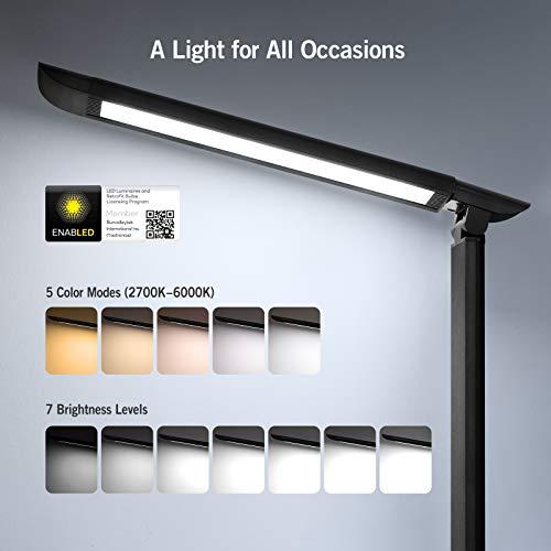 [Amazon Prime] TaoTronics LED Schreibtischlampe in Weiß / Schwarz / Silbergrau ( 5 Farb und 7 Helligkeitsstufen, dimmbar Memory-Funktion )